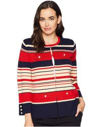 Anne Klein - Multi Striped Cardigan With Pocket Flaps (marine Red/marine Blue Combo) Women's Sweater - Lyst