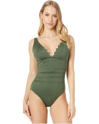 Kate Spade Scallop Wave Contrast Scalloped Plunge One-piece - Green
