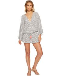 144d897fb118 Vince Camuto - Blossom Stripes Cover-up Romper (black) Women s Jumpsuit    Rompers