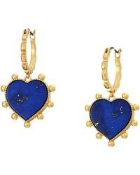 Tory Burch - Semi-precious Heart Charm Earrings (vintage Gold/mother-of-pearl) Earring - Lyst