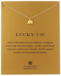 Dogeared - Lucky Us Elephant Reminder Necklace (gold Dipped) Necklace - Lyst