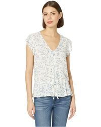 Two By Vince Camuto Cap Sleeve Tranquil Ditsy Drawstring Waist Peplum Blouse (pearl Ivory) Women's Short Sleeve Button Up - White