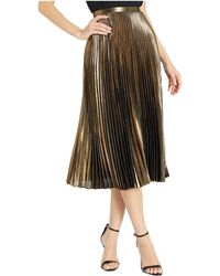 Lauren by Ralph Lauren Pleated Metallic Midi Skirt
