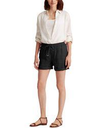 Lauren by Ralph Lauren Petite Linen Drawcord Shorts - Black