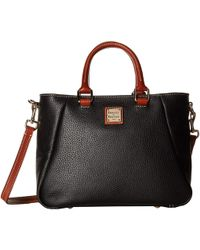 Dooney & Bourke - Pebble Small Top Zip Satchel (caramel/tan Trim) Satchel Handbags - Lyst