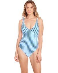 Polo Ralph Lauren Coastal Stripe Over-the-shoulder Splice One-piece Swimsuits One Piece - Blue