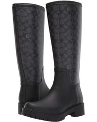 01dc39fcd7e3b COACH Signature Rain Boot With Signature Coated Canvas in Brown ...