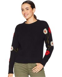Lucky Brand - Embroidered Sleeve Pullover Sweater (black Multi) Women's Sweater - Lyst