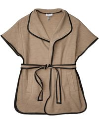 Calvin Klein Faux Wool Belted Cape - Natural