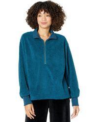 Dylan By True Grit Sherpa Modern Zip Pullover Sweatshirt - Blue