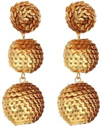 Kenneth Jay Lane | 2 Gold Sequin Wrapped Ball Post Earrings W/ Dome Top | Lyst
