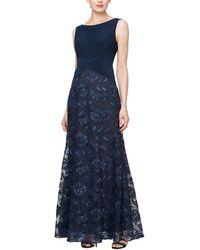 Alex Evenings Long A-line Rosette Dress With Short Sleeves Sequin Detail - Blue