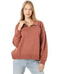 Dylan By True Grit Shay Double Fleece Drop Shoulder Zip-up Sweatshirt - Brown