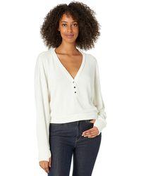 Michael Lauren Cassian Henley Crop Pullover Sweatshirt With Thumbhole - White