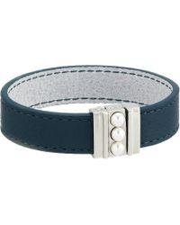 Majorica - 5mm Mabe Pearls On Clasp Reversible Leather Bracelet 7 Long (white) Bracelet - Lyst