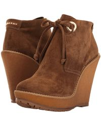Burberry Suede Ankle Boot Wedges - Brown