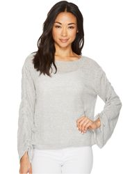 Two By Vince Camuto - Drawstring Bell Sleeve Pointelle Sweater - Lyst