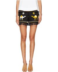 Kate Spade Spice Things Up Embroidered Camel Shorts - Black