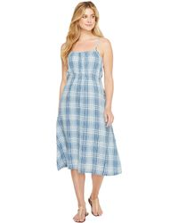 Dylan By True Grit Genuine Indigo Linens Bonita Slip Dress Denim Small Plaids (denim) Dress - Blue