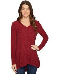 Mod-o-doc | Poorboy Rib Sweater Double Layer Hem Long Sleeve Sweater | Lyst