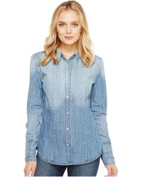 Stetson Ombre Washed Denim Western Shirt - Blue