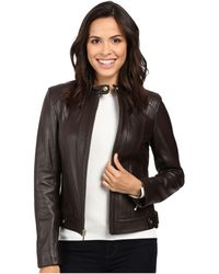 Cole Haan - Leather Racer Jacket With Quilted Panels (deep Espresso) Women's Jacket - Lyst