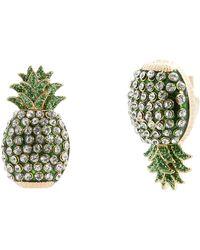 Betsey Johnson Pineapple Mismatch Stud Earrings - Green
