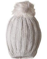 750472f8821 Hat Attack - Soft Rib Slouchy With Faux Pom (grey light Grey Pom)