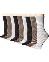 Ecco Stripe Crew Socks - 9 Pack - Multicolor