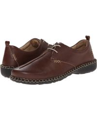 Josef Seibel Lindsay Leather Stitch Detail Lace Up Block Heel Loafers - Brown