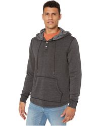 True Grit Bowery Fleece Placket Hoodie With Stitch Details - Black