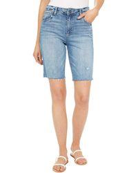 Kut From The Kloth Sophie High-rise Bermuda Shorts Five-pockets Raw Hem - Blue