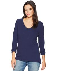 Dylan By True Grit - Effortless Long Sleeve V Tee (indigo) Women's T Shirt - Lyst