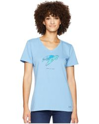 Life Is Good. - Sea Turtle Lig Crusher Vee (powder Blue) Women's T Shirt - Lyst
