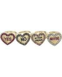 Betsey Johnson - Conversation Heart Ring Set - Lyst