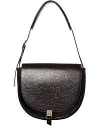 Reiss Croc Effect Leather Shoulder Bag - Brown