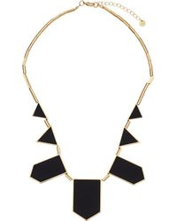 House of Harlow 1960 - Plated Five Station Black Leather Necklace (14k Yellow Gold Plated) Necklace - Lyst