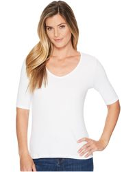 Lilla P Elbow Sleeve V-neck - White
