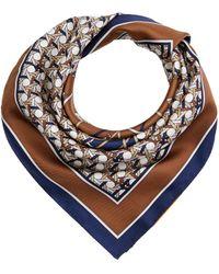 Tory Burch Basket Weave Logo Silk Neckerchief Scarves - Multicolor