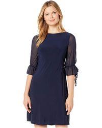 Lauren by Ralph Lauren Mid Weight Matte Jersey Carter 3/4 Sleeve Day Dress - Blue