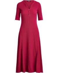 Lauren by Ralph Lauren Waffle Knit Fit-and-flare Dress - Pink