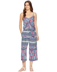 Tommy Bahama - Riviera Tile Crop Jumpsuit Cover-up (cerise) Women's Swimsuits One Piece - Lyst