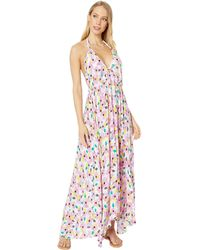 Kate Spade Floral Halter Maxi Dress Coverup - White