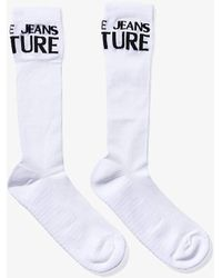 Versace Jeans Couture Intarsia Logo Socks - White
