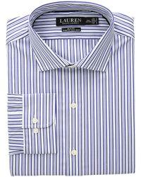Lauren by Ralph Lauren - Slim Fit No-iron Striped Cotton Dress Shirt - Lyst