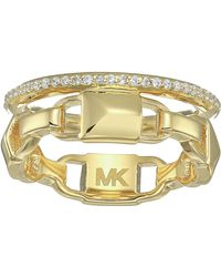 Michael Kors Precious Metal-plated Sterling Silver Mercer Link Pave Halo Ring Ring - Metallic