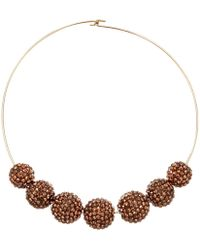 Kenneth Jay Lane - Gold Wire Topaz Pave Bead Necklace - Lyst