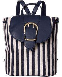 Lauren by Ralph Lauren - Cornwall Striped Canvas Flap Backpack - Lyst