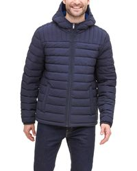 Dockers The Liam Smart 360 Flex Stretch Quilted Hooded Puffer Jacket - Blue