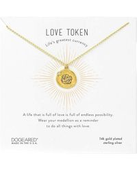 Dogeared Love Token Etched Rose Coin Pendant With Crystal Detail Necklace Necklace - Metallic
